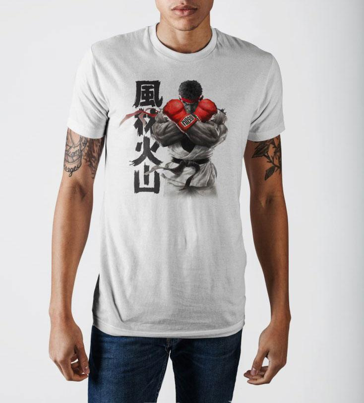 Capcom Street Fighter V Rise Up White Graphic Print T-Shirt