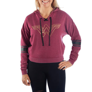 Wonder Woman Sweatshirt DC Comics Hoodie Red Burnout Wonder Woman Hoodie