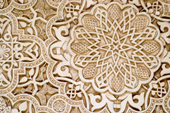 Beautiful geometric carvings of the Alhambra Palace in Granada spain.