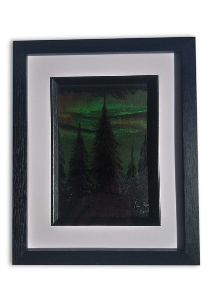 Aurora Borialis over a Pine Forest, ©Ian Garrett 2019.  Acrylic on Canvas 7 x 5 inches.
