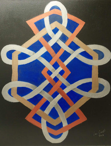Geometric Fusion, ©Ian Garrett 2018. Acrylic on Canvas 20 x 16 inches.