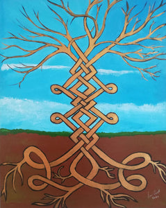 Twist and turns in the Tree of Life, ©Ian Garrett 2020. Acrylic on Canvas 20 x 16 inches.