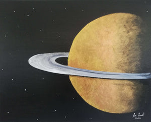 Rings of Saturn, ©Ian Garrett 2020. Acrylic on Canvas 20 x 16 inches.
