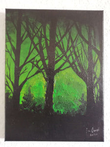 Creepy Green Light, ©Ian Garrett 2020. Acrylic on Canvas 9 x 12 inches.