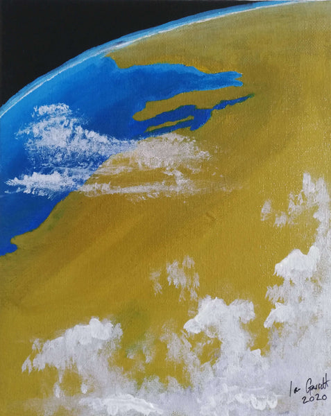 Persian Gulf (taking in Saudi Arabia, Qatar and the UAE) ©Ian Garrett 2020. Acrylic on Canvas 10 x 8 inches.