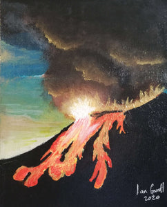 Eruption. ©Ian Garrett 2020. Acrylic on Canvas 10 x 8 inches.