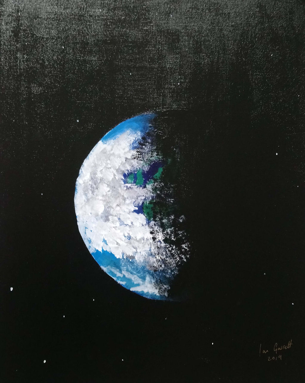Space Ship Earth, ©Ian Garrett 2019. Acrylic on Canvas 20 x 16 inches.