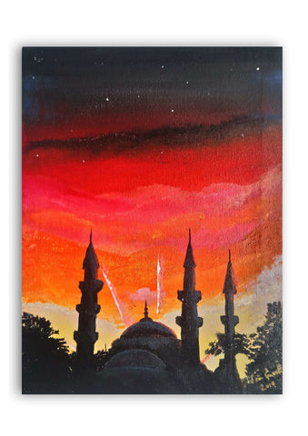 Sunset over the Blue Mosque, ©Ian Garrett 2019. Acrylic on Canvas 9 x 12 inches.