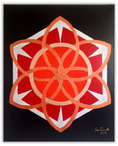 "Ian Garrett Designs physical Crimson Geometry 2017 (20"" X 16"" Acrylic on Canvas)"