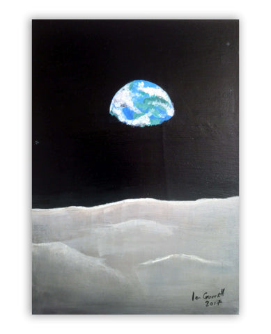 "Ian Garrett Designs physical Earth Rise 2017 (14"" X 10"" Acrylic on Canvas)"