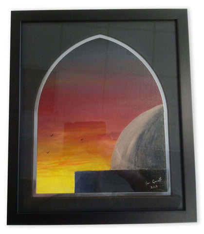 "Ian Garrett Designs physical Golden Masjid Dome at Sunrise. 2018 (12"" x 10"" Acrylic on Canvas Board.)"