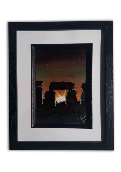 Solstice at Stone Henge, ©Ian Garrett 2019.  Acrylic on Canvas 7 x 5 inches.