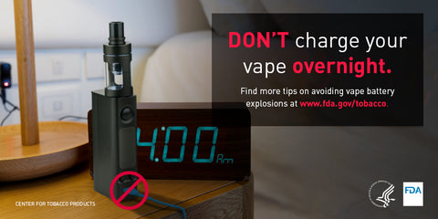 Do not charge vaporizer batteries overnight