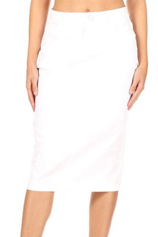 White Zipper Fly Skirt - Sizes 6-14