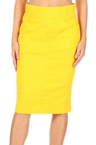 Yellow Pull-on Style Skirt - Sizes 6-18