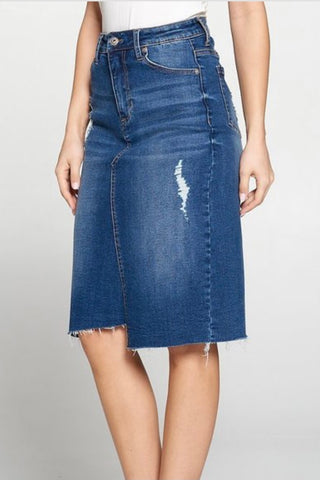 Dark Blue High Waist Distressed Denim Skirt (Size 4-8)