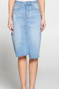Light High Waist Distressed Denim Skirt (Size 4-8)