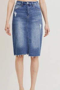 Med Blue High Waist Distressed Denim Skirt (Size 4-8)