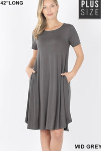 GiG Curvy Tee Dress - Mid Grey (1X-3X)
