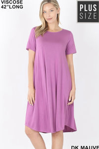 GiG Curvy Tee Dress - Dark Mauve (1X-3X)