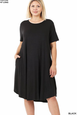 GiG Curvy Tee Dress - Black  (1X-3X)