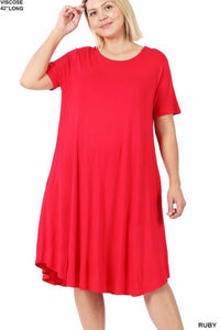 GiG Curvy Tee Dress - Ruby  (1X-3X)