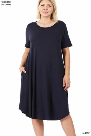 GiG Curvy Tee Dress - Navy  (1X-3X)