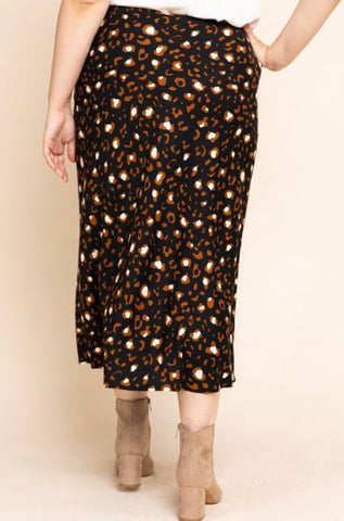 PLUS Black Leopard Print Skirt