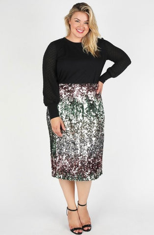 PLUS Sequin Midi Skirt