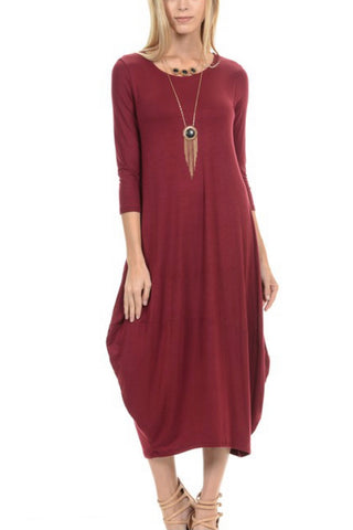 Bubble Style Dress - Maroon