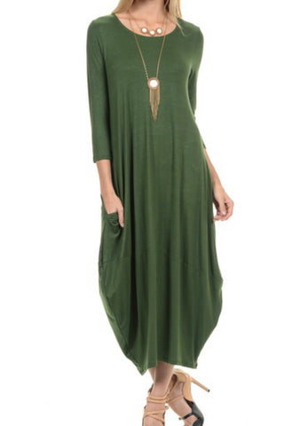 Bubble Style Dress - Green