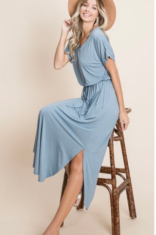 Casual Mid-Maxi Dress - Denim (S-XL)