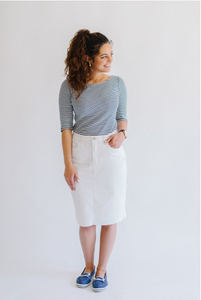 Leah Denim Skirt - White