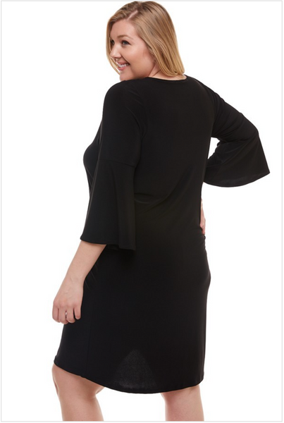 Plus Black Bell Sleeve Tunic