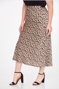 PLUS Leopard Maxi Slip Skirt