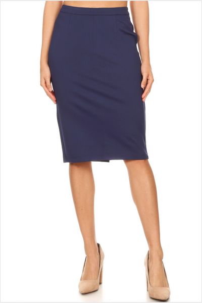 Navy Pointe Pencil Skirt