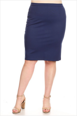PLUS Navy Pointe Pencil Skirt