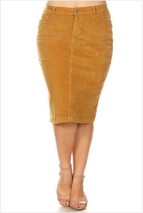 Plus Mustard Corduroy Skirt