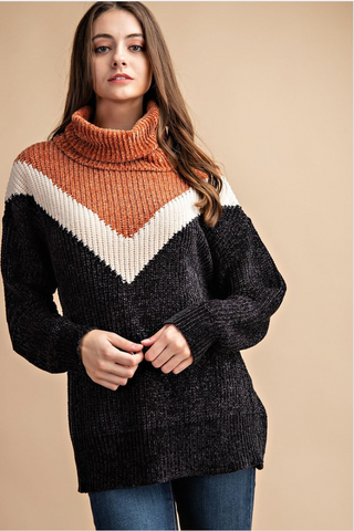 Nora Sweater - Black & Rust