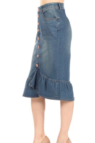 Ruffle Denim Skirt (XS-XL)