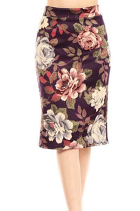 Plus Scuba Pencil Skirt - Purple Motif