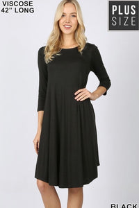 Curvy GiG Tee Dress 3/4 Sleeve (Black)