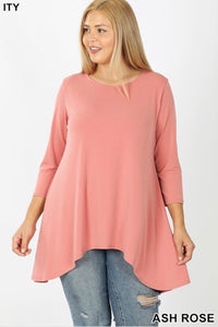 Plus GiG flowy 3/4 Sleeve Tee - Ash Rose