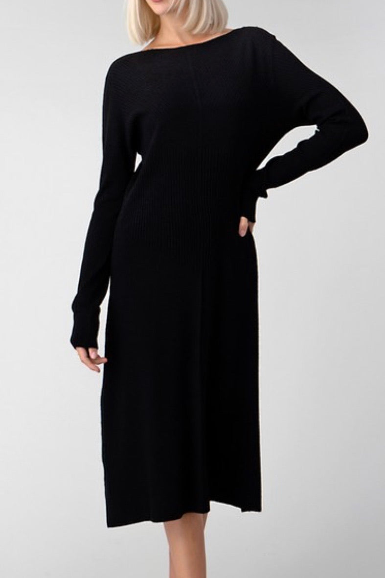 Black Sweater Boatneck Dress
