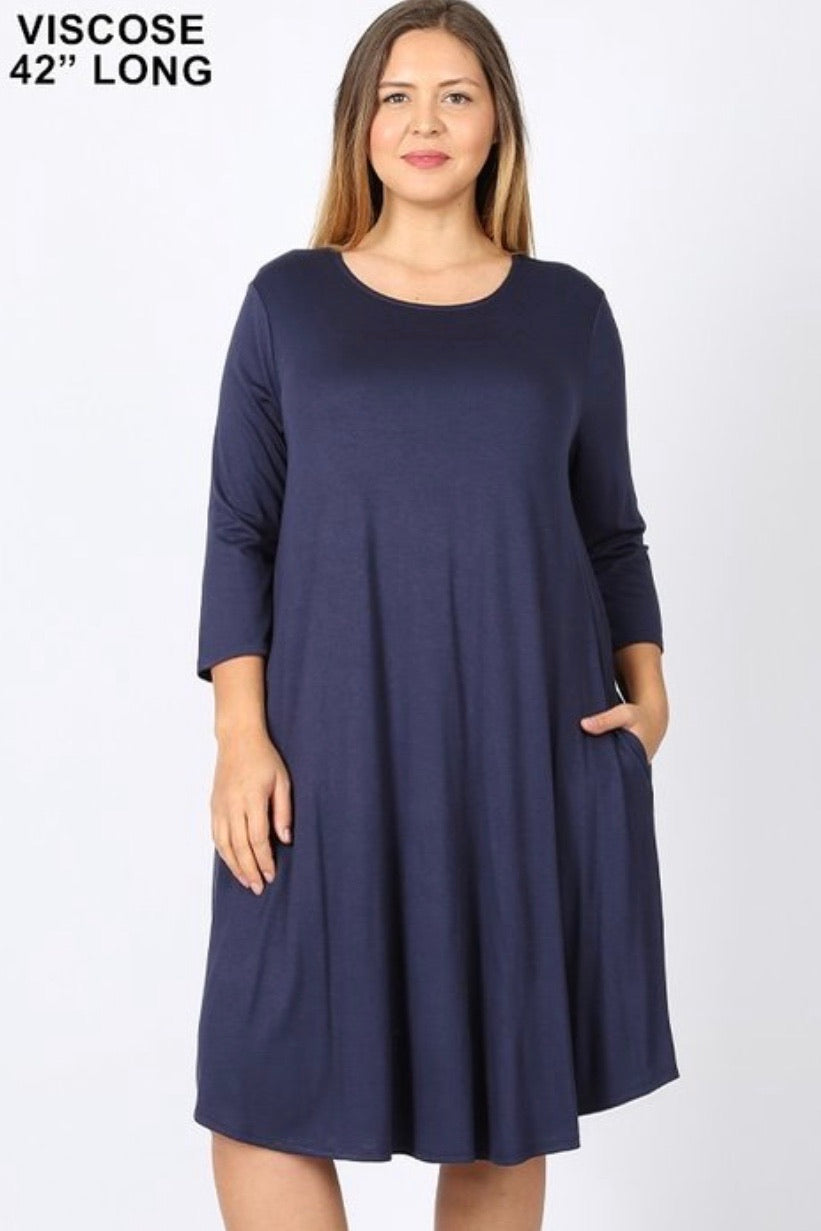 Curvy GiG Tee Dress 3/4 Sleeve (Navy)