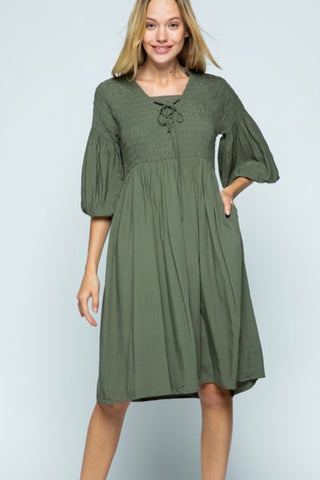Peasant Dress - Forest green