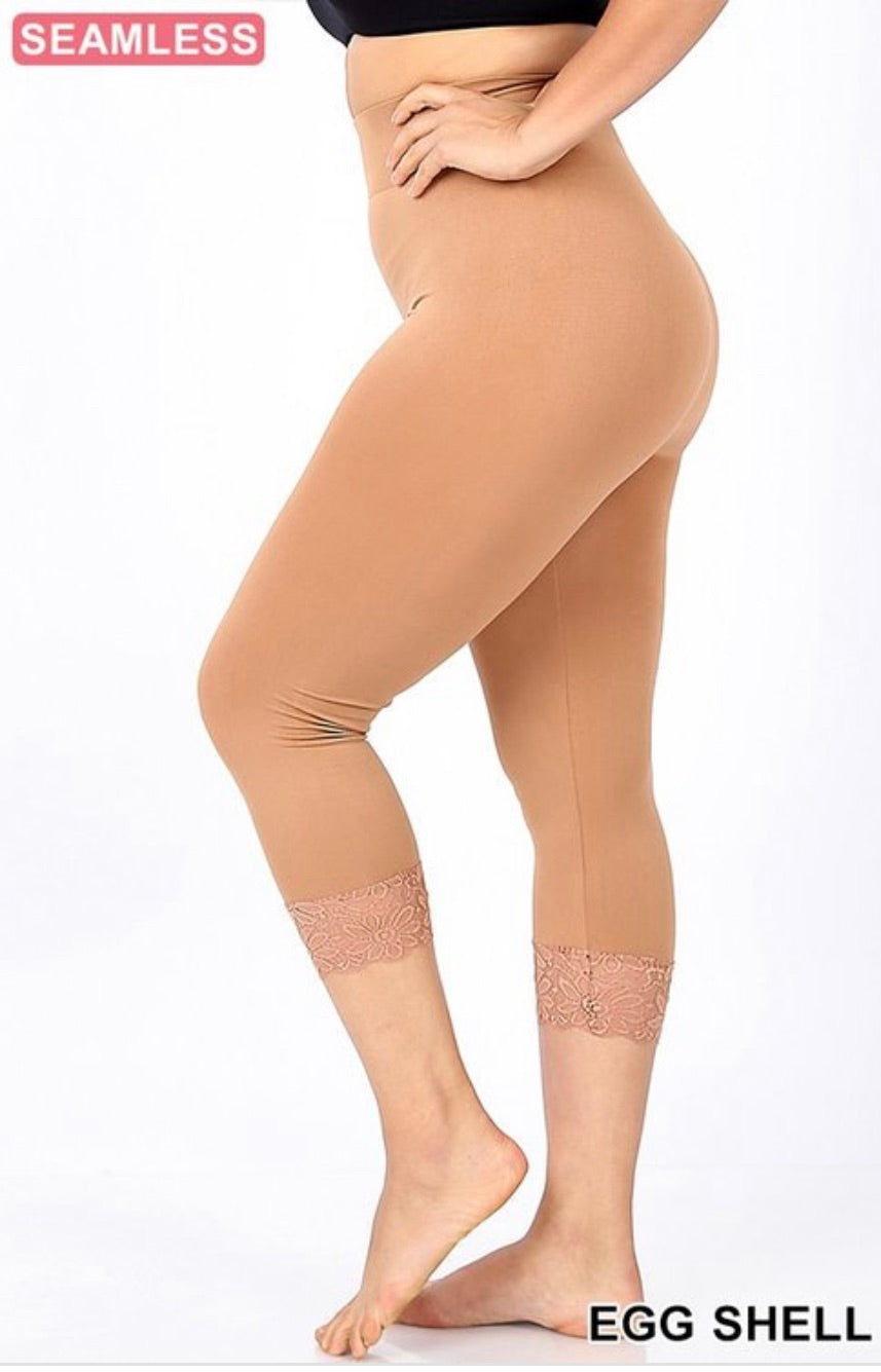 Tan - lace bottom tights PLUS