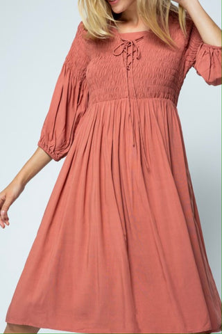 Peasant Dress - Rosewood