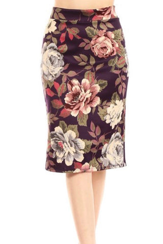 Scuba Pencil Skirt - Purple Motif  (S-L)