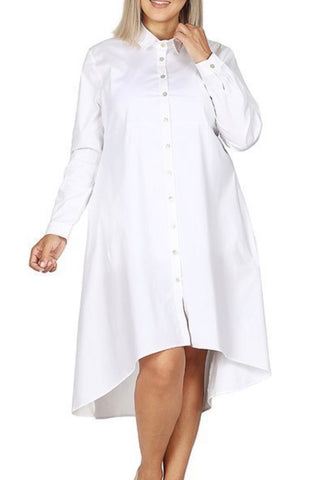 Curvy Poplin Dress (White)